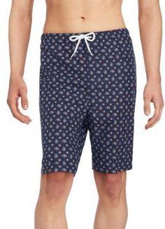 Saks Fifth Avenue Printed Drawstring Waist Swim Shorts - White-Marine Men's Swimsuits, Swimwear, Saks Fifth Avenue, Swim Shorts, Discount Designer, Drawstring Waist, White Shorts, Pajama Pants, Printed