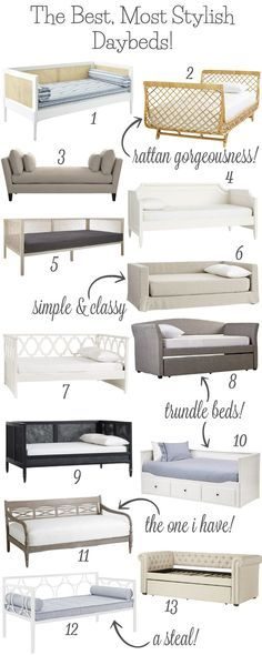 The Best, Most Stylish Daybeds! So many stylish twin daybed options! Love the ones with trundles (an extra spot for guests to sleep would be the best)! Lots of favorites here! Daybed Room, Diy Daybed, Daybed With Trundle, Daybed Ideas, Nursery Daybed, Girls Daybed, Office With Daybed, Small Daybed, Daybed Design