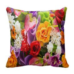 Magnificent Bouquet of Flowers Throw Pillow
