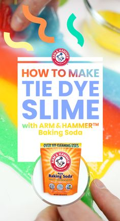 Kids will go crazy for this homemade Tie Dye Slime made with ARM & HAMMER™Baking Soda. Start with 4 small bowls. Pour 4 oz. of clear school glue and 1/2 tsp of baking soda into each; mix well. Add 3-5 drops of food coloring, then stir. Gradually add 10-15 drops of saline solution. When the slime reaches a gooey state remove and knead with your hands. Lay all batches on a flat surface and twist to create a tie dye pattern.