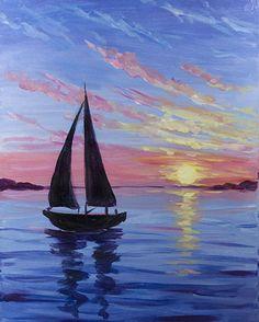 In einem Restaurant in Hamburg treffen wir uns regelmäßig und malen ohne Vorkenntnisse aber mit Anleitung. Dieses mal ein Segelboot bei Sonnenuntergang. Sei dabei. #colorsandvino #hamburg