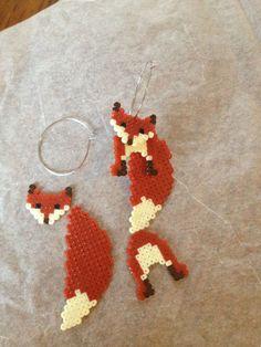 3D fox perler earrings/keychain.