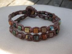 Indian Agate Cube Hemp Cuff Bracelet by Hemp Jewelry, Macrame Jewelry, Macrame Bracelets, Jewelry Crafts, Hair Tie Bracelet, Indian Agate, Anklets, Handcrafted Jewelry, Jewelery