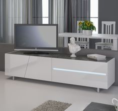 meuble tv blanc laqu avec clairage led intgr design joshua - Meuble Tv Laque Blanc Hudson
