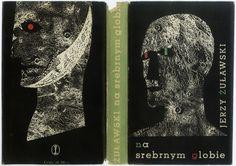 Book cover by Daniel Mróz. TRYLOGIA KSIĘŻYCOWA. NA SREBRNYM GLOBIE. Kraków 1959, Wydawnictwo Literackie.