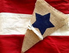 Stars 4th of July Burlap Triangle Bunting Banner by SweetThymes, $28.00