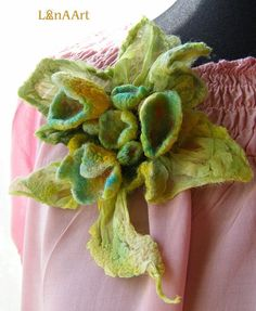 GREEN FOREST FANTASY nuno felted flower brooch of silk and fine merino wool in green, yellow and turquoise. $30.00, via Etsy.