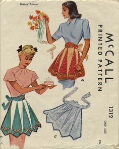 Vintage Apron Sewing Pattern | McCall 1312 | Year 1946 | One Size