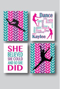 Set of 4 Prints Dance Room Decor Girls Room Wall by MDesignCompany moderndance Modern Dance, Dance Crafts, Dance Rooms, Dance Decorations, Ideias Diy, Dance Recital, Teen Girl Bedrooms, Girls Dance Bedroom, Girl Rooms