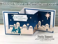 Yesterday I shared this beautiful Night in Bethlehem Christmas card with you, and today I have a video tutorial for you! Please enjoy this Free Video Tutorial to see how to put this trifold car