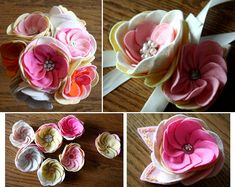 girly-pink-light-pink-yellow-white-felt-button-bridal-bouquets-corsages-flowers-eco-friendly