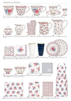 helena & hailey 1 2 3 4 5 1 Latte cup Hailey white H: 9 cm. 2 Mug Helena white H: 9 cm. 3 Teacup Hailey white H: 9 cm. 4 Cup & saucer Hailey white H: 9 cm. Latte Cups, Tea Cups, Rainbow Kitchen, Cath Kidston, Shabby Chic Decor, Cup And Saucer, Furniture Decor, Winter Collectie, Diy And Crafts
