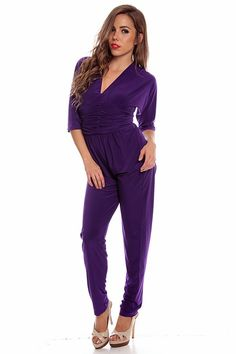 purple jumpsuit#long pant jumpsuit#open back jumpsuit#v neck ...