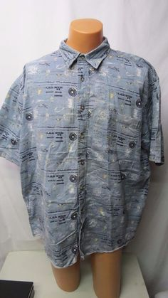 HAWAIIAN SHIRT Men's 2XT XXL Hollis River Short sleeve button down ...