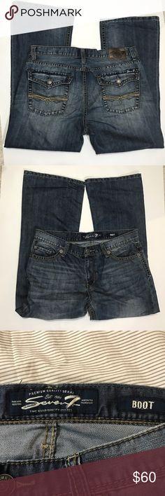 "Seven 7 Boot Men's Jeans Seven 7 men's Boot Jeans, tag size 36x30, waist measures 19 laid flat, inseam measures 30"". 5 pocket, 67% cotton, 33% polyester. Seven7 Jeans Bootcut"