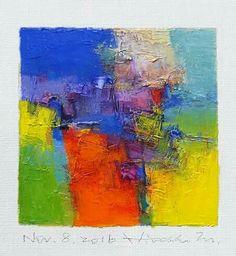 "Nov. 8, 2016 9 cm x 9 cm (app. 4"" x 4"") oil on canvas © 2016 Hiroshi Matsumoto"