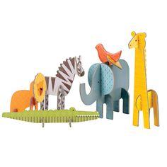 Hanging Mobile, Hanging Art, 3d Puzzel, Create An Animal, Cardboard Art, Safari Theme, Pop Out, Animal Crafts, Safari Animals