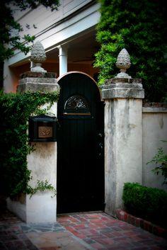 Courtyard entrance in Charleston, South Carolina Garden Entrance, Entrance Gates, Garden Gates, Courtyard Entry, Garden Doors, Outdoor Spaces, Outdoor Living, Outdoor Decor, So Far Away