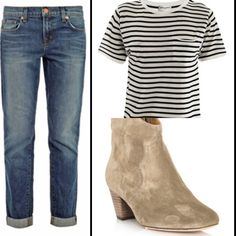 J Brand Aiden jeans/Saint Laurent stripe top/Isabel Marant suede Dicker boots : matchesfashion.com
