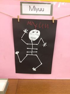 Halloween - skeleton made using cotton buds
