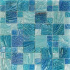 Aquatic Sky Blue Piazza Pattern Glass Tiles