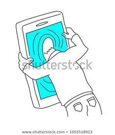 Line drawing of a man sticking his head in the mobile phone. Smart phone, internet and social media addiction, too much use of mobile phone concept. Guy Drawing, Line Drawing, Stick Men Drawings, Instagram Highlight Icons, Body Art, Addiction, Internet, Social Media, Concept