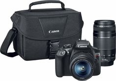 Canon - EOS Rebel T6 DSLR Camera with EF-S 18-55mm IS II and EF 75-300mm III lens - Front Zoom