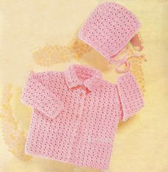 Instant Download Pattern  Crochet  Matinee Coat and Matching Bonnet  2 Sizes: 20 and 22 chest (approx. 12 and 24 months)  4 Ply yarn
