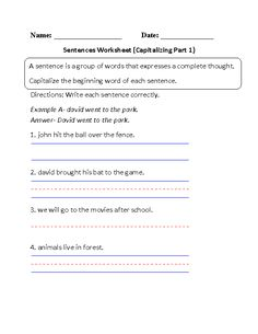 sentence or fragment simple sentences worksheet part 2 school ideas for english lessons. Black Bedroom Furniture Sets. Home Design Ideas