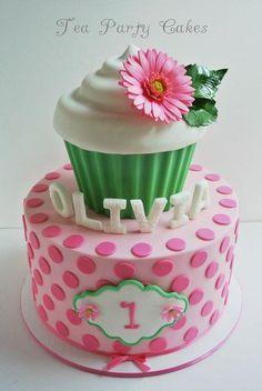 I made this for a sweet little girl turning 1. I was given a picture of a gift bag with cupcakes on it and told they would like a cake like the green one, but with a bit more pink. This is what I came up with. TFL.