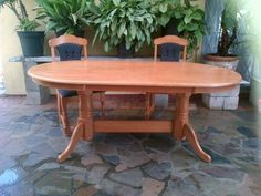 Beautiful Yellowwood Table And 2 Chairs