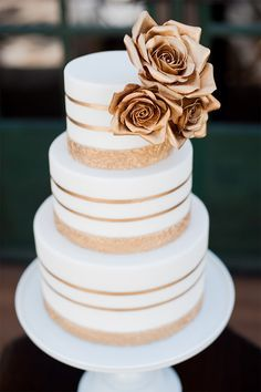 Rose Gold and White Striped Wedding Cake / McCune Photography / Sweet and Saucy…