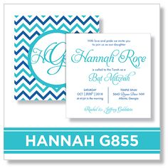 EventPrints Modern and Sophisticated Bar and Bat Mitzvah Invitations  EventPrints, Bat Mitzvah Invitation, Bar Mitzvah Invitations, B'nai Mitzvah Invitation, B'not Mitzvah Invitation, customizable  invitations, unique, modern, Atlanta, http://www.eventprints.com  Hannah G855 Bat Mitzvah invitation  Chevron Teal Blue Sapphire