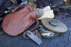 Mark's very old Hudson Bay Tinderbox with one of our hand made vintage tinder pouches. www.beaverbushcraft.co.uk