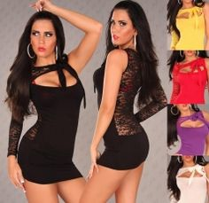 Clubbing One Sleeved Ladies Party Lace Back Dress Multiple Colours One Size