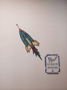 Blue Rocket Tattoo Design  From Blue Whale Ink Design by _park_tae_  Work In Korea, Seoul, Hongdae Kakao: taemin0509 Insta: _park_tae_ Email: hopetaemin@naver.com Phone: 010.9922.2511