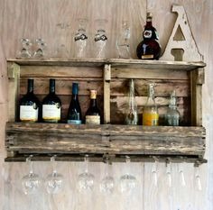 Wine Rack, Wine Shelf, Bar Shelf , Liquor Shelf. Rustic Design,reclaimed Wood…