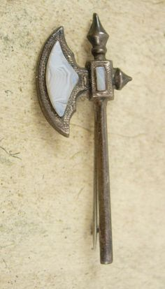Antique sterling Brooch Scottish agate Axe