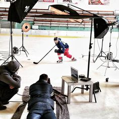 Outside was 34 C° and we inside had blue lips from the cold. Great feature shooting on ice - we dont carry we just slide it :) #photorental #icehockey #bts #iso1200magazine #nhlplayer #tatar #profoto #fulinjakub