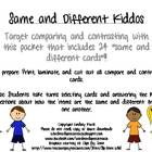 "Free! 24 ""same and different cards""!!  Targets comparing and contrasting"