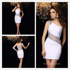 2015 White one-shoudle sleeveless Beading Short/Mini Chiffon  Prom dress for @dylanqueen