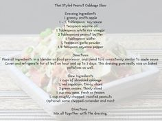 Thia styled cabbage slaw