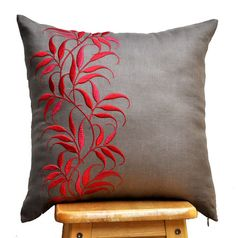 Leaves Pillow Cover, Medium Taupe Linen Pillow Red Leaf Embroidery, Floral Throw Pillow, Red Taupe Pillow Shams, Contemporary pillow Pillow Cover Decorative Pillow Couch Pillow Throw by KainKain Sewing Pillows, Linen Pillows, Couch Pillows, Linen Fabric, Cushion Embroidery, Embroidered Cushions, Embroidered Leaves, Cheap Decorative Pillows, Decorative Pillow Covers