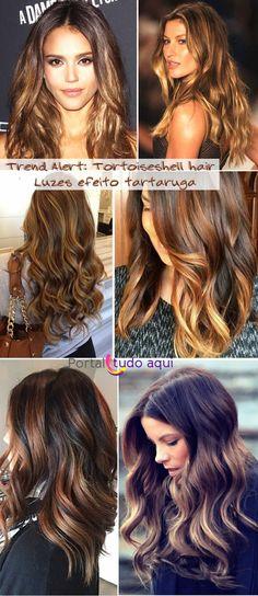 Tortoiseshell hair ou luzes efeito tartaruga