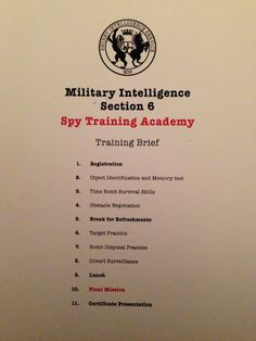 Training brief, all the party games were given spy training names