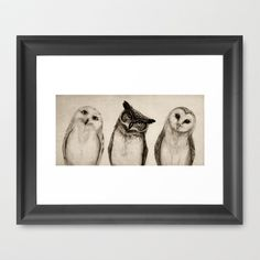The Owl's 3 Framed Art Print by Isaiah K. Stephens - $32.00
