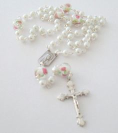 White Rosary Beads  Five Decade Rosary Our by AwfyBrawJewellery