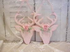 hp pink shabby clay roses wood Reindeer Deer Xmas Ornaments cottage chic