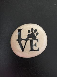 Love with Paw Print stone- paw print art- animal lover - Rock Art- image stone by FloridaFunshine on Etsy https://www.etsy.com/listing/279607494/love-with-paw-print-stone-paw-print-art