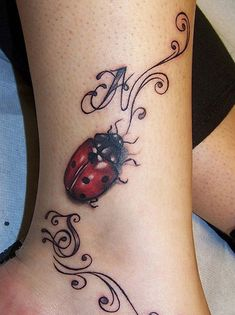 Awesome lady bug tattoo I don't one that big though. I wonder if they could do a mini version Vine Tattoos, Foot Tattoos, Forearm Tattoos, Small Tattoos, Cross Tattoos, Heart Tattoos, Feather Tattoos, Tribal Tattoos, Lady Bug Tattoo